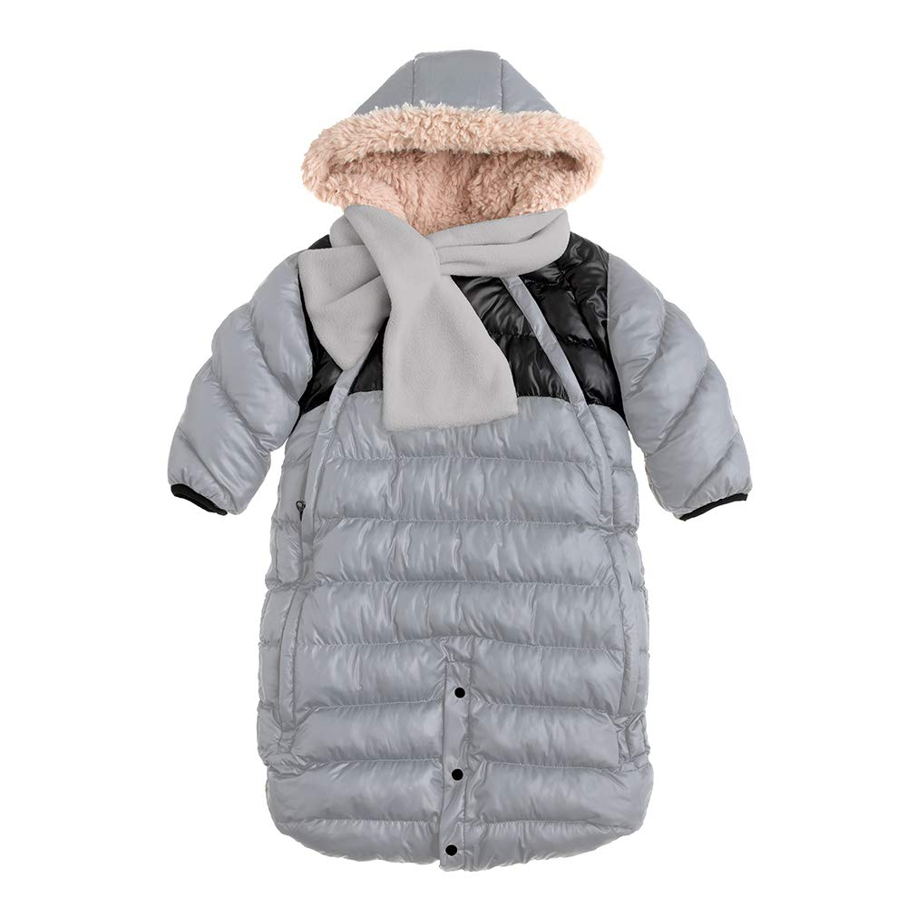 7AM Enfant Doudoune One Piece Infant Snowsuit Bunting, Gray/Black, Large by 7 A.M.