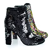 Living39 Black/Silver Reversible Sequins Block Heel Ankle Bootie -9