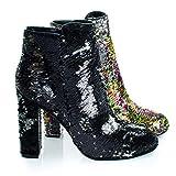Living39 Black/Silver Reversible Sequins Block Heel Ankle Bootie -9