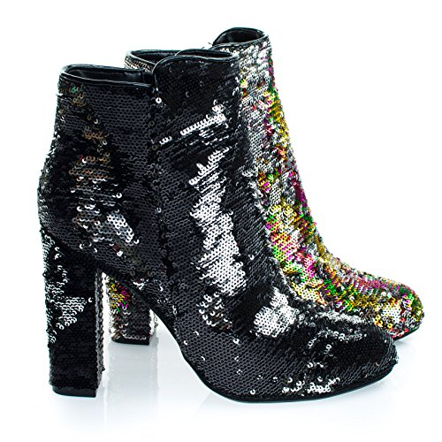 Living39 Black/Silver Reversible Sequins Block Heel Ankle Bootie -9 ()