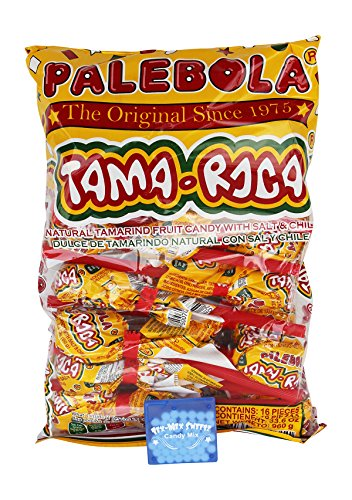 Tama Roca Palebola Natural Tamarind Fruit Mexican Candy With Salt & Chili. (16) Piece Tamarindo Lollipops Bag & Mints From Tex-Mex Sweetz
