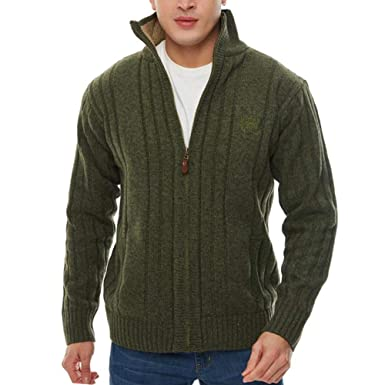0b3d65b9dfa APRAW Men s Casual Cardigan Sweaters Slim Full Zip Thick Knitted with  Pockets for Winter Outwear Army