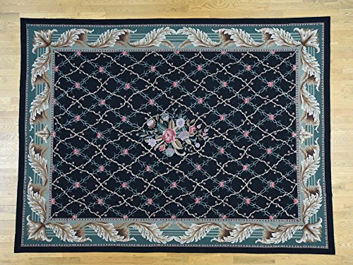9'x11'10 Needlepoint Hand-Stitched Botanical Design Pure Wool Rug G33236 -