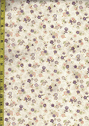 Quilt Gate Japanese Fabric - Celebration Collection - Tiny Floating Plum Blossoms - Cream