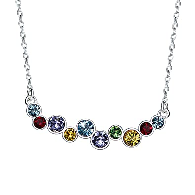 00e560bf2c11d CRYSLOVE Crystal Rainbow Bar Necklace, 925 Sterling Silver Using Elemental  Multicolor Crystal Collarbone Necklace 18