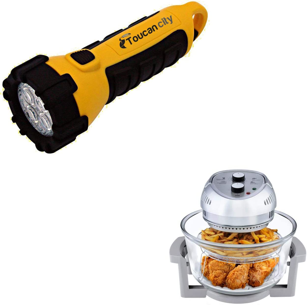 Toucan City LED Flashlight and Big Boss 16 Qt. Silver Oil-less Air r with Built-In Timer 8605