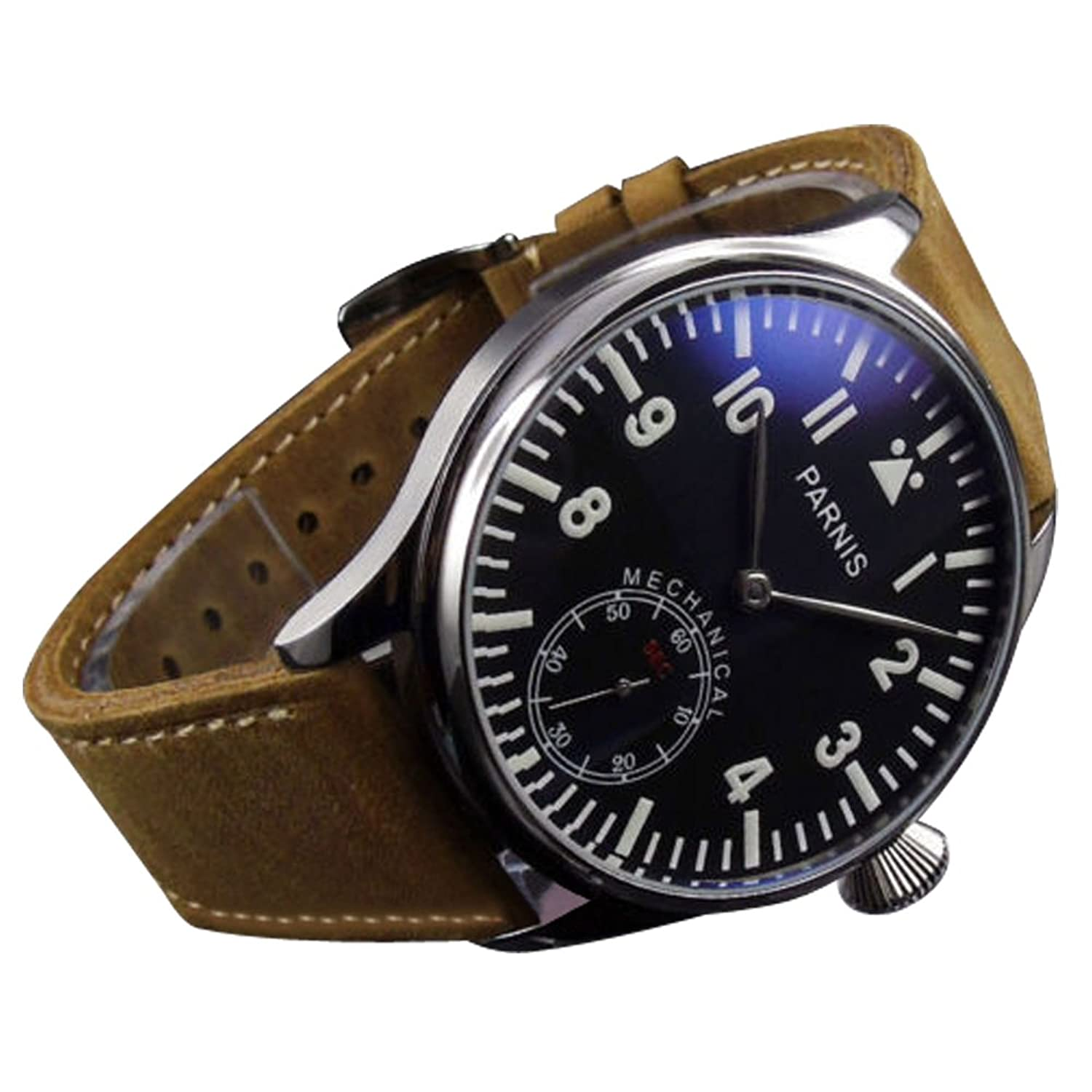 whatswatch 44 mm Parnisブラックダイヤルブルー光6498 Movement Hand Winding Mens Watch pa-0111175 B01LD4CWO8