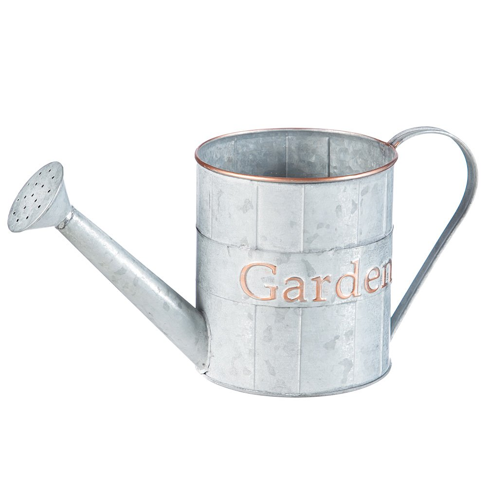 A Ting Metal Planter Flower Pot Vintga Garden Container,Light Grey