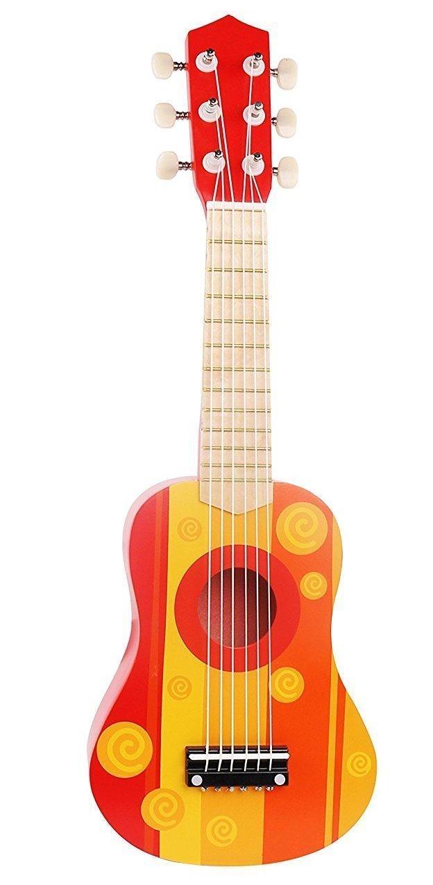 Amazon.com: Pidoko Kids Wooden Ukulele Toy Guitar Instrument, Red ...