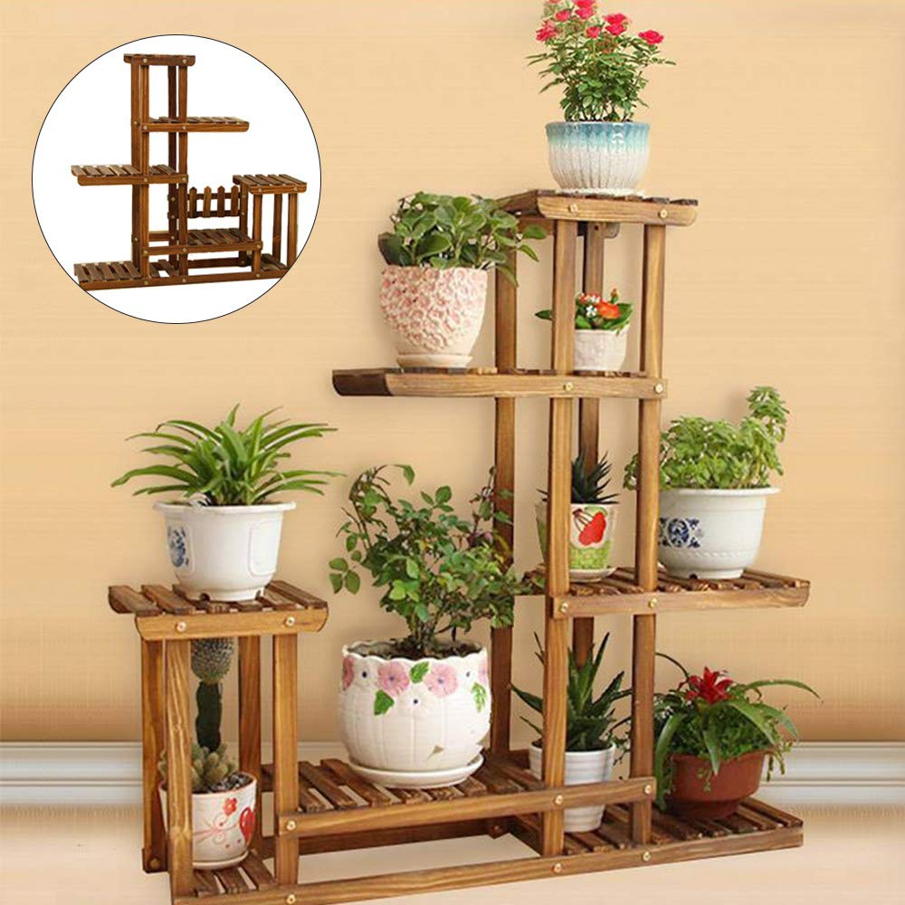 PetHot Wooden Plant Flower Herb Display Stand Shelf Storage Rack Outdoor 7 Pots Holder 95x96x26Cm JY