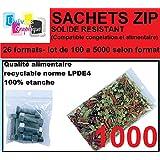 lot de 1000 Sachets 80 x 120 mm fermeture zip Transparent. Sachet fermeture zip 50u sac plastique compatible 8x12 alimentaire et congélation de marque UNIVERS GRAPHIQUE REF UGS05-1000. Facture avec T.V.A déductible