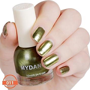 Naladoo Women Girls Nail Art Polish 10ml Flow Gold Mirror Chrome Effect Nail Polish Foil Nails Art