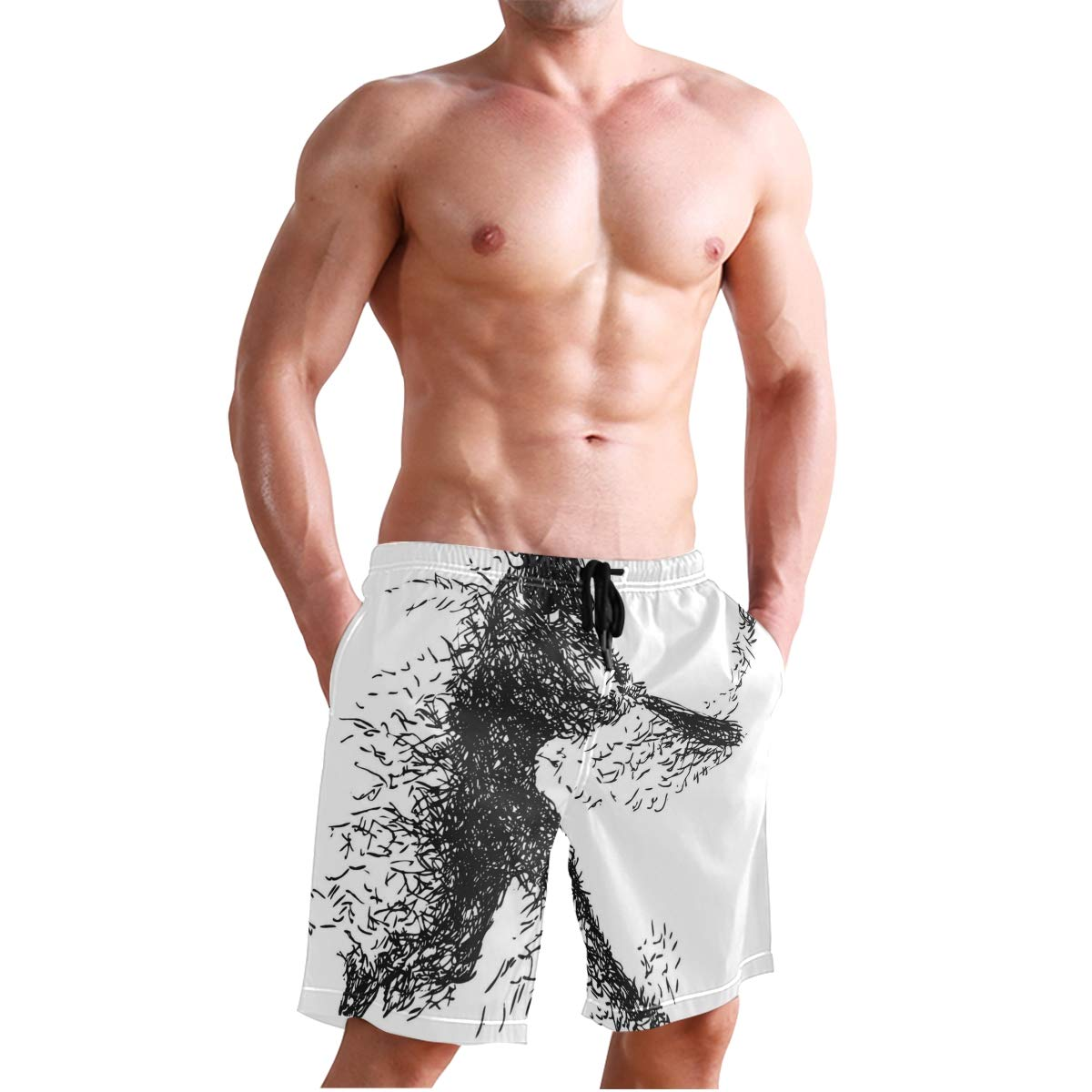 KVMV Abstract and Hipster French Bulldog Heads Funny Puppy P Quick Dry Beach Shorts