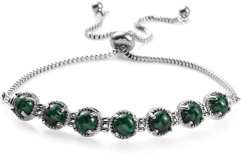 Best Gift Jewelry Green Malachite sterling Silver Overlay 30 Grams Bracelet 7-9