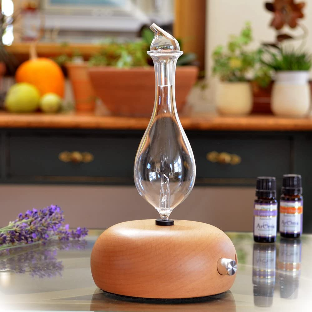 Aromatherapy Diffuser - Professional Grade - Wood and Glass (Orbis Lux Merus), Premium, Essential Oil Diffusers, Nebulizer