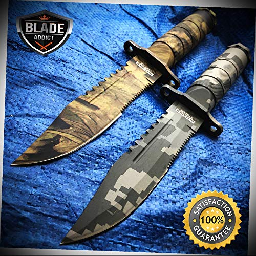 2 PC Military Camo Fishing Hunting Knife Survival Kit Blade with Sheath - Outdoor For Camping Hunting