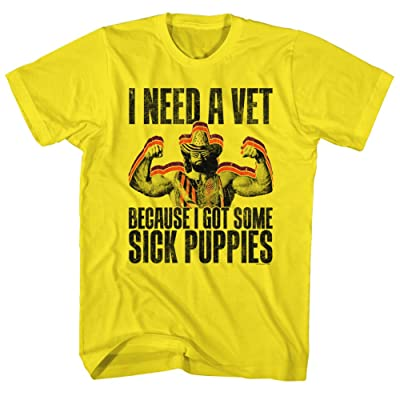 2Bhip Macho Man Wrestler Sick Puppies Yellow Adult T-Shirt Tee: Clothing