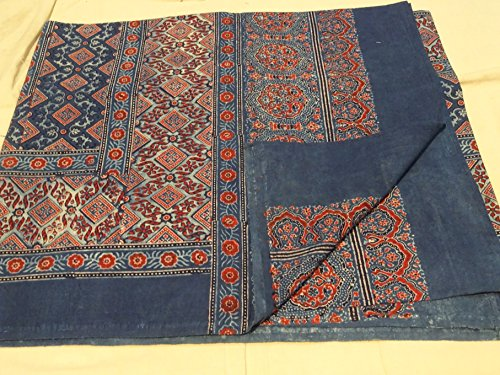 Hanging Blocks (Gorgeous Ajrakh Block Printed Table Cover, Bedspread, or Wall Hanging From Gujarat, Western India)