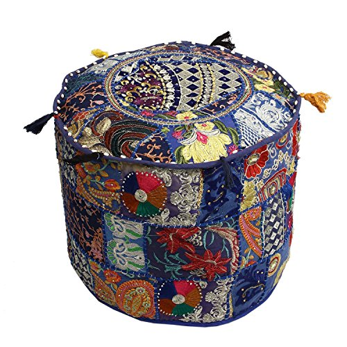 A Perfect Christmas Indian Embroidered Patchwork Ottoman Cover,Traditional Indian Decorative Pouf Ottoman,Indian Comfortable Floor Cotton Cushion Ottoman Pouf,Indian Designs Ethnic Floor Ottoman by GANESHAM