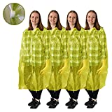 ALL NEW! Disposable Emergency Rain Ponchos - Raincoat, featuring front Snaps, Sleeves, and Hood for Easy, Fast, and Practical use, 4 pack,