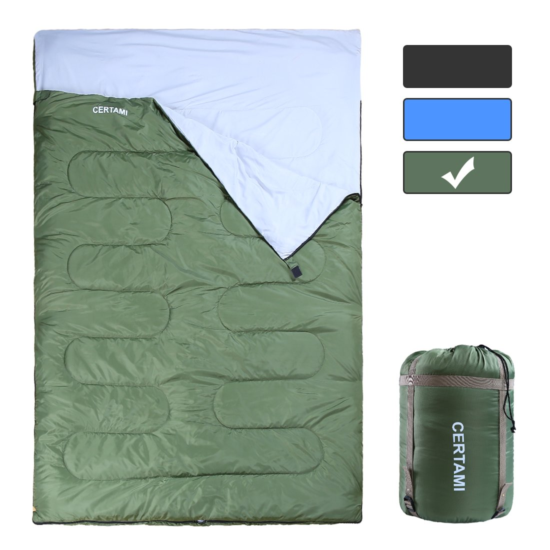CER TAMI Sleeping Bag for Adults, Girls & Boys, Lightweight Waterproof Compact, Great for 4 Season Warm & Cold Weather, Perfect for Outdoor Backpacking, Camping, Hiking (Army Green/Double Zip) by CER TAMI