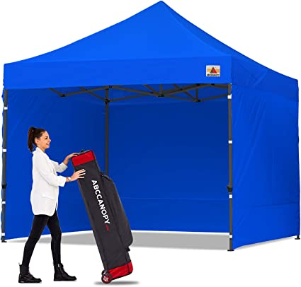 Navy Blue ABCCANOPY Canopy Tent Popup Canopy 10x10 Pop Up Canopies Commercial Tents Market stall with 6 Removable Sidewalls and Roller Bag Bonus 4 Weight Bags and 10ft Screen Netting and Half Wall