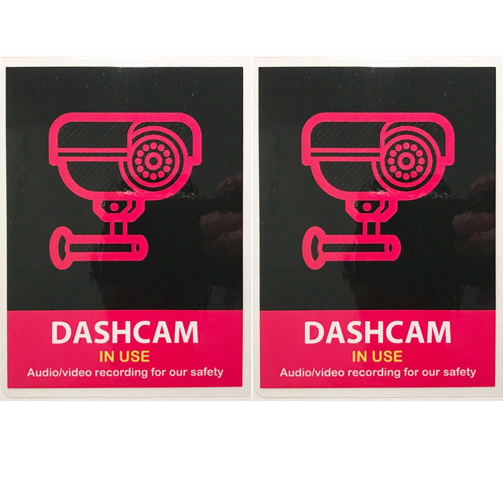 (Set of 2) Uber Lyft Headrest Decal Dashcam In Use Sign Rideshare Display AS PRO SIGNS