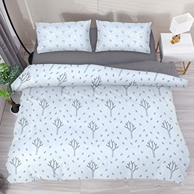 LvShen Bed Coverlet Duvet Cover Set Printed Geometric Point Tree 3 Pieces Bedding Sets Extra Long Twin Size with 2 Pillow Cases and 1 Comforter Quilt Cover for Teen Boys Girls: Home & Kitchen