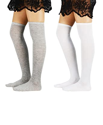 68391e6f3 Azue Women's Cute Kawaii Over The Knee Thigh High Socks Thin Solid Color  Long Stockings for