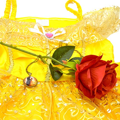 Belle Dress [Beauty and the Beast] + Rose + Pendant Necklace - Great for a 2017 Halloween Costume [Size (Makeup Ideas For Halloween 2017)