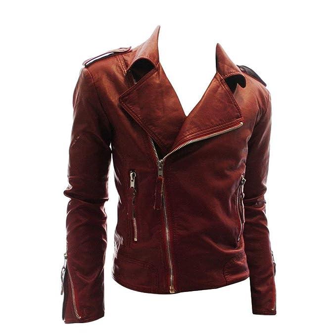 Ericcay Chaqueta Corte Slim para Hombre Imitación Chic Chaqueta Chaqueta Cuero Cuero Jacket La PU Chaqueta Motorista Chaquetas Manga Larga para Hombre: ...