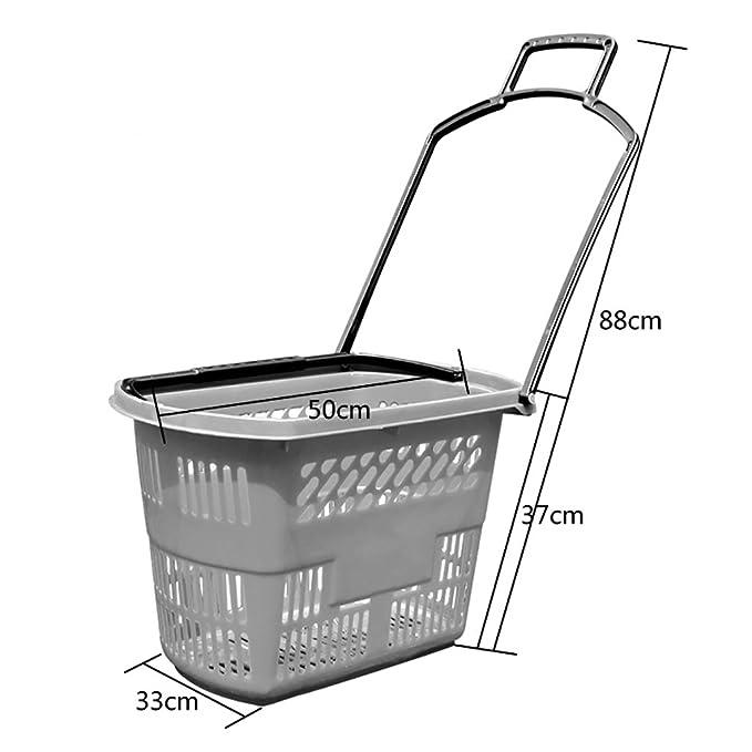Supermercado Cesta de la Compra Cesta Cuatro Ruedas cajón Cesta de plástico para Comprar Cesta de Compras de plástico Tienda de conveniencia Cesta de la ...