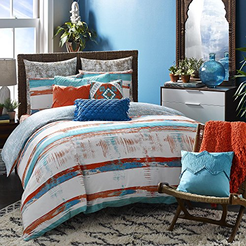 Ranch Quilt Set (3 Piece White Southwestern King Size Duvet Cover Set, Beautiful Rustic Western Ranch South West Bedding, Bohemian Boho Chic Modern Cottage Theme Blue Brown Reversible, Cotton)