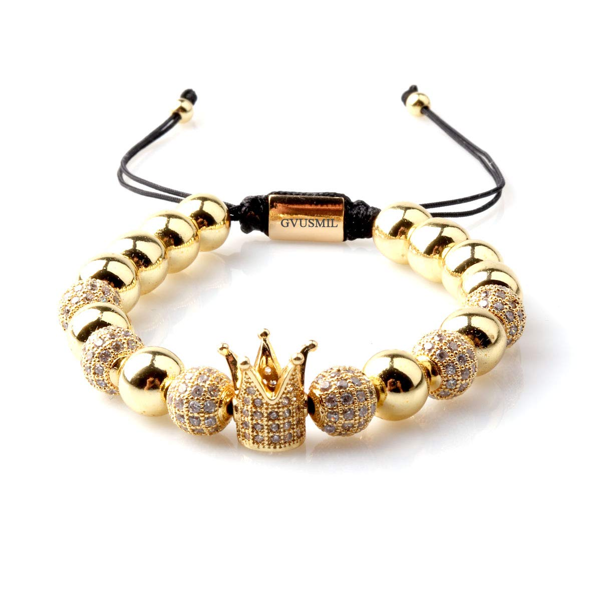 GVUSMIL Imperial Crown King CZ Beads Bracelets Luxury Fashion Charm 18kt Gold Plated Jewelry for Men