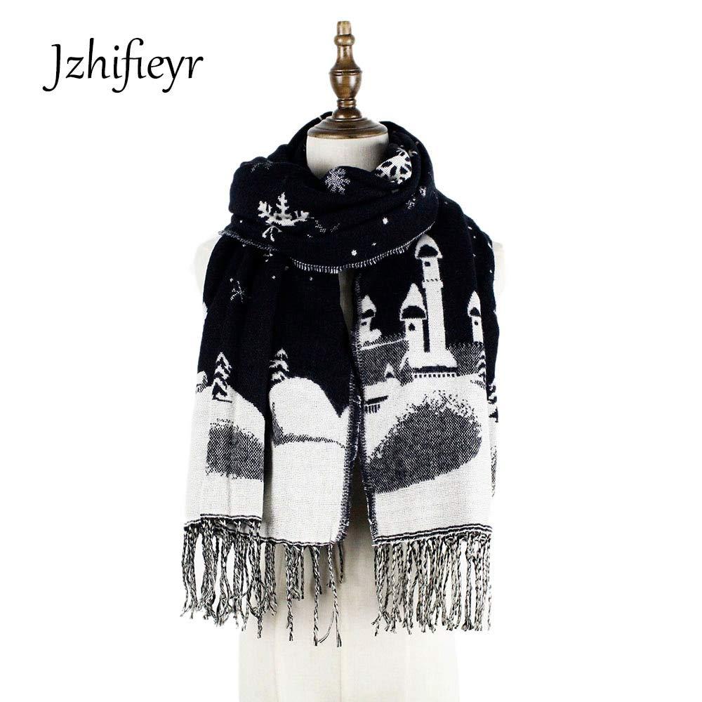 Wasab YX179 scarves christmas tree scarf acrylic fringe snowflake echarpes winter scarfs shawls pashmina blanket grey blue