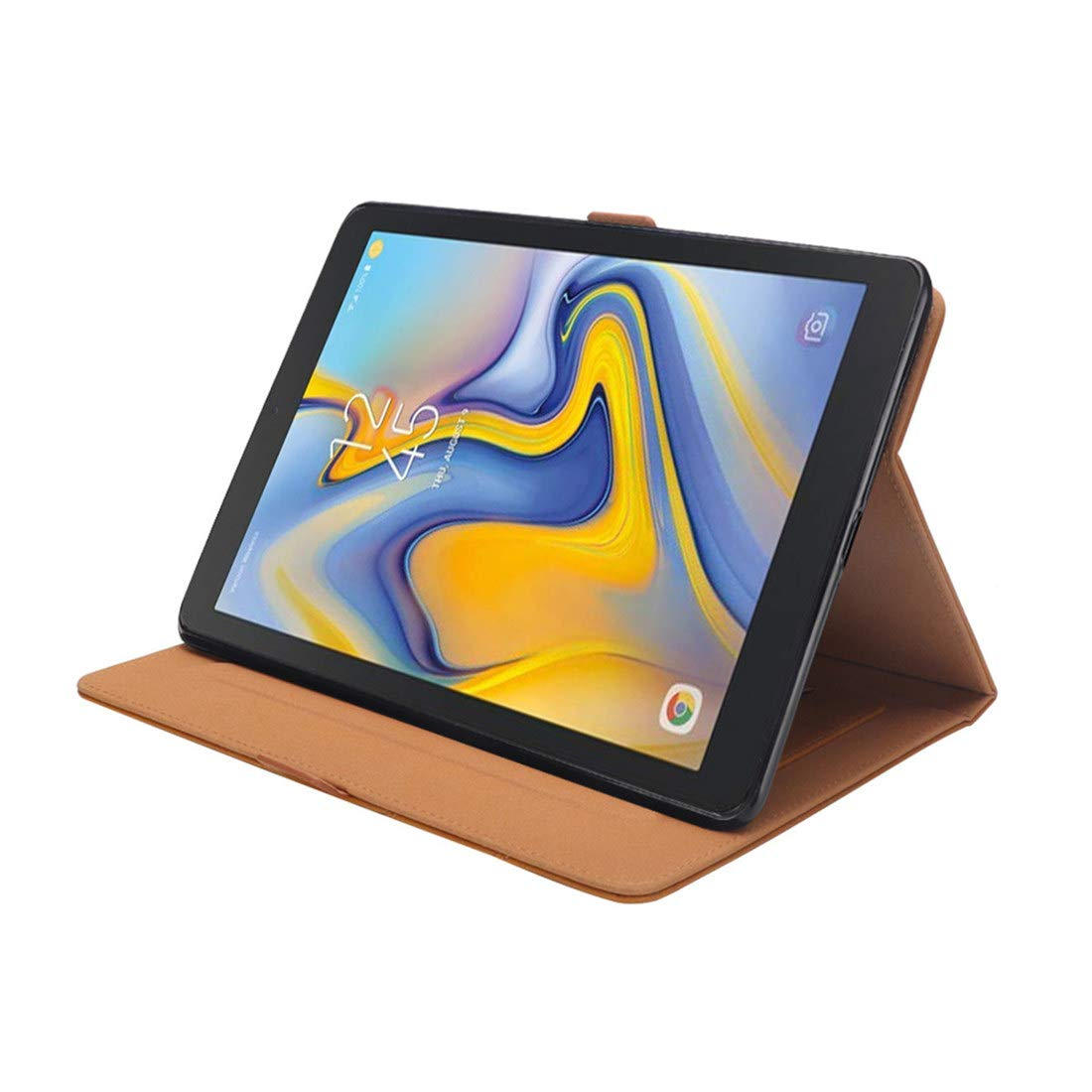 Ayaztou Compatible with Samsung Galaxy TAB A 8.0 2018 Case SM-T387 Darkbrown Premium PU Leather Card Slots and Stand Flip Cover