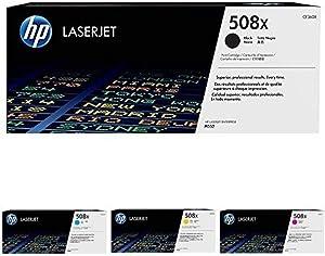HP 508X High Yield Black and HP 508X High Yield Cyan/Magenta/Yellow Toner Cartridge Bundle (CF360X, CF361X, CF362X, CF363X)