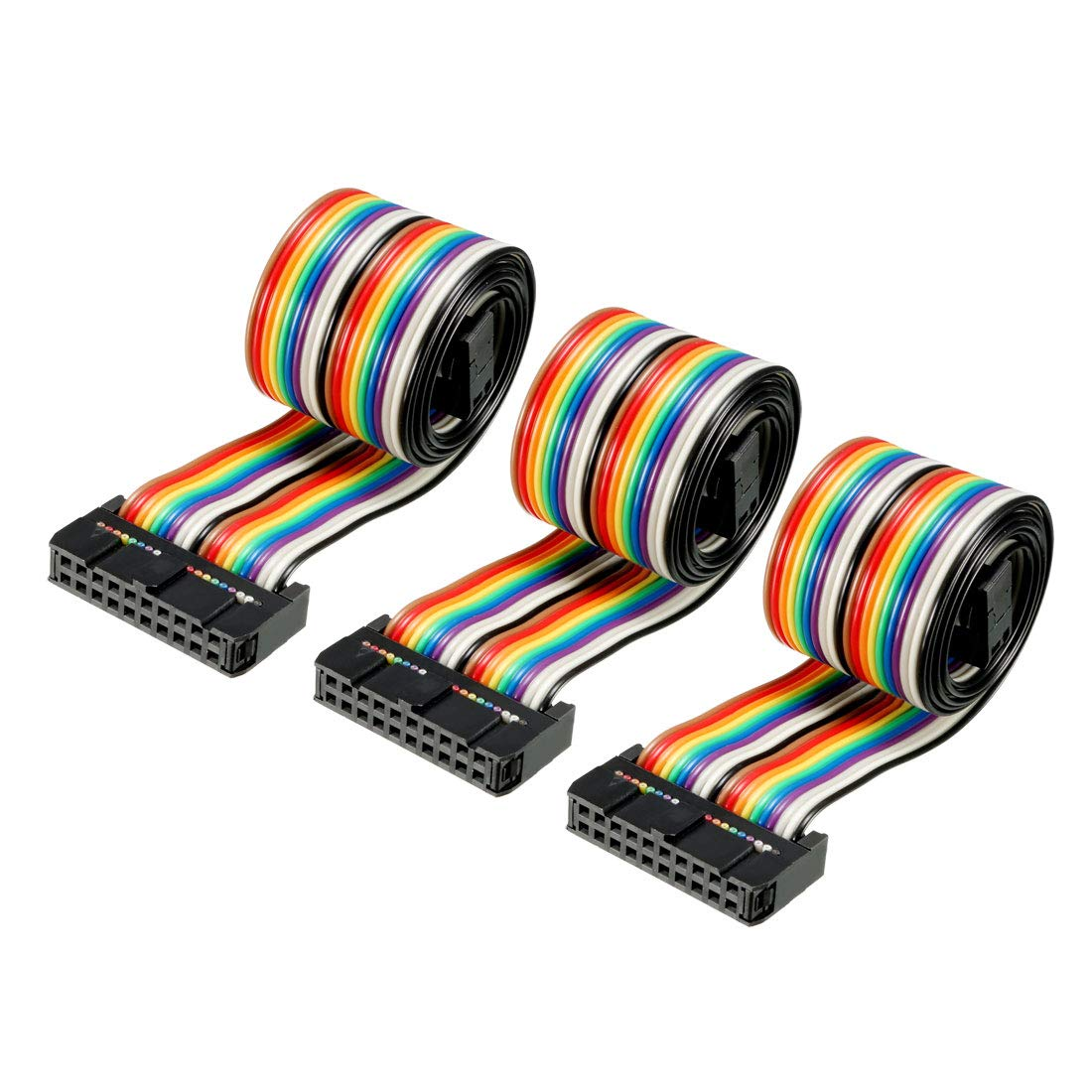 sourcingmap/® 2.54mm Pitch 2 Row 10 Pins Female to Female IDC Connector Flat Ribbon Cable 1M