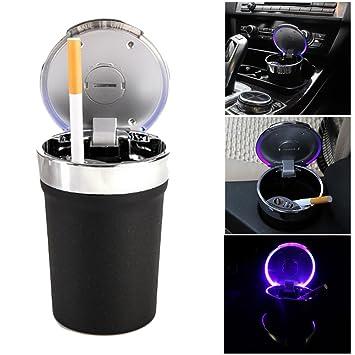 Auto LED Aschenbecher aus Zinklegierung mit Deckel und LED Beleuchtung Tr/äger Schwarz