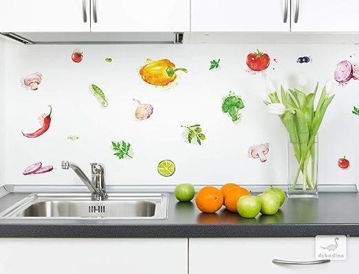 Wandtattoo Küche Set Aquarell Gemüse Paprika Oliven Pilze Wandsticker