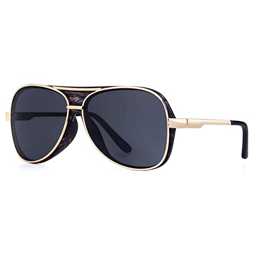 1fa4615afd2 Amazon.com  Classic Aviator Sunglasses For Men Wooden Frame With Matte Black  Temple PC lens(black)  Clothing