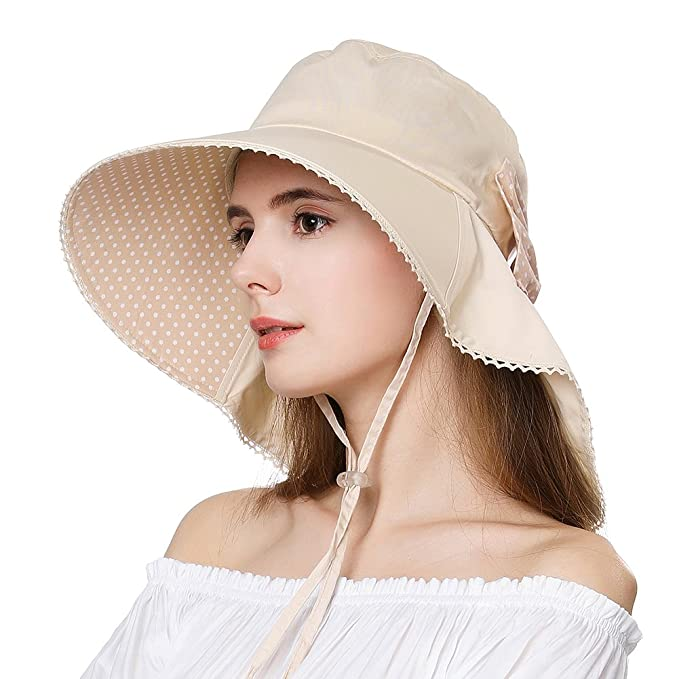 14cc55a4 Wide Sun Summer SPF Cotton Shade Brim Packable Hat for Small Head Women Uv  with Neck