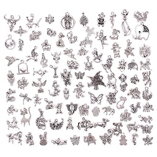 Bracelet Animal Charm - KeyZone 100 Pieces Silver Mixed Animals Styles Charms Pendants DIY for Necklace Bracelet Jewelry Making