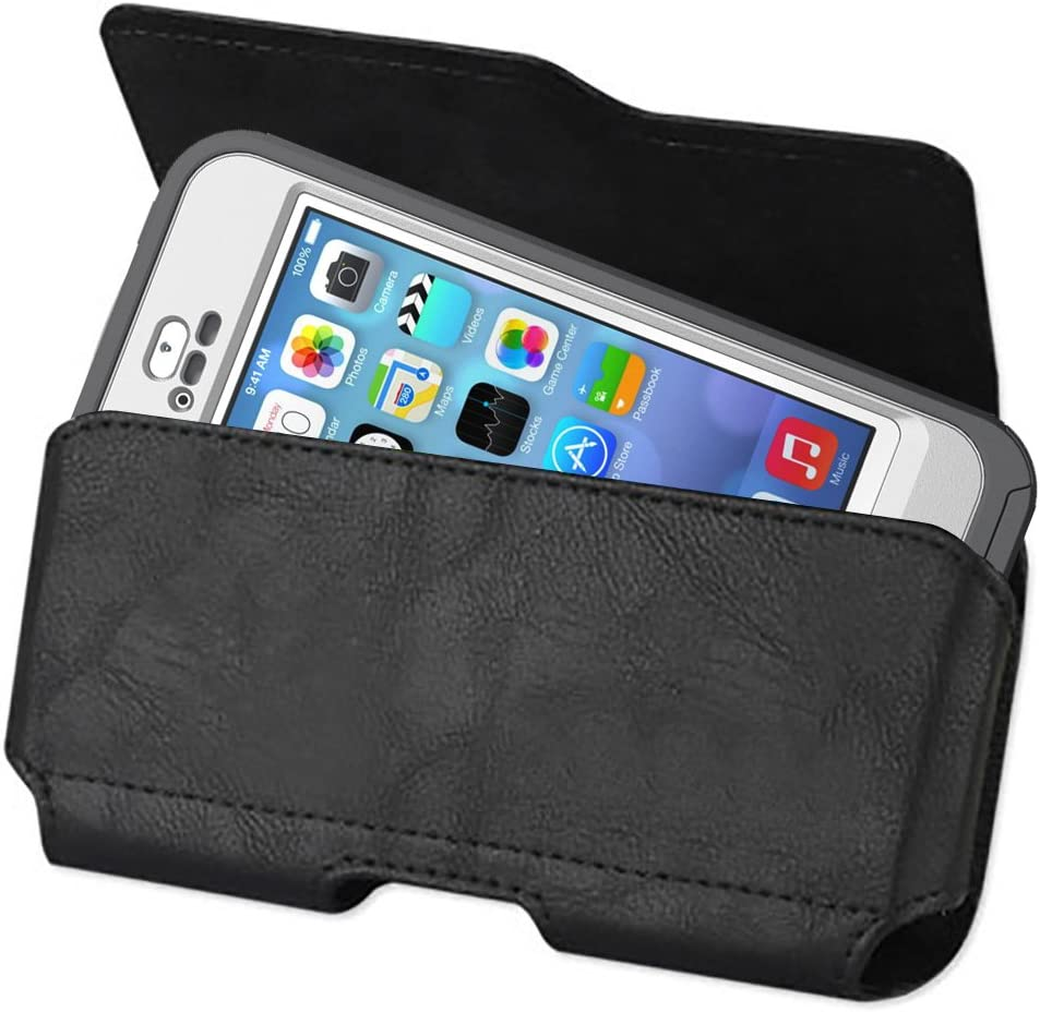 Kuteck Black Horizontal Leather Belt Holster Pouch Clip Fits FOR APPLE IPHONE 6 PLUS 5.5