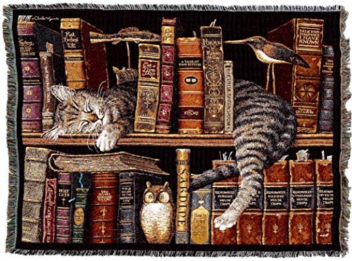 Pure Country Weavers | Frederick The Literate Cat by Charles Wysocki Woven Tapestry Blanket with Fringe Cotton 72x54 Cotton USA