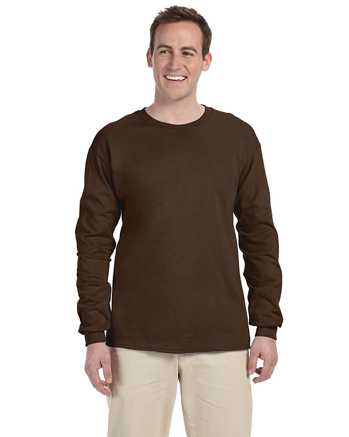 2 Pack FoTL 4930 Mens Heavy Cotton Long-Sleeve Tee 3XL Chocolate