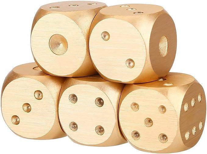 5 Pieces//Set Aluminum Alloy 6 Sided Square Spot Dice Straight Corner /& Case