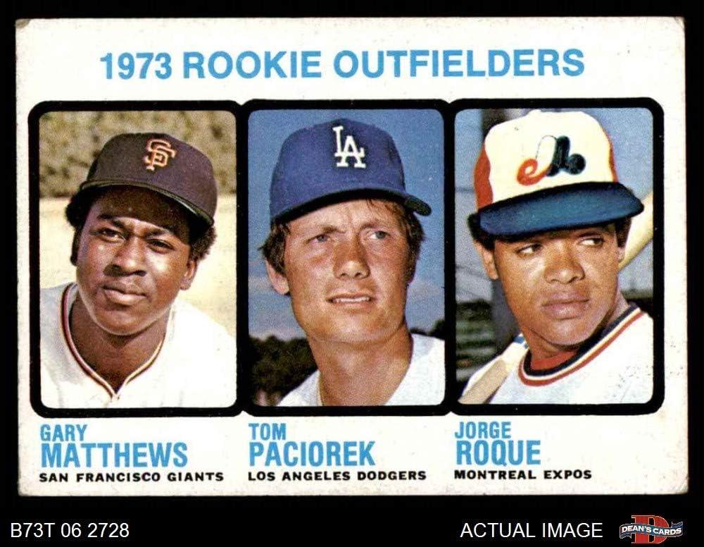 1973 Topps # 606 Rookie Outfielders Gary Matthews/Tom Paciorek/Jorge Roque Giants/Dodgers/Expos (Baseball Card) Dean's Cards 2 - GOOD Giants/Dodgers/Expos 61gxgm3aYhL