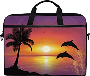 MRMIAN Palm Trees & Dolphins at Sunset on The Beach Laptop Case Bag Sleeve Portable/Crossbody Messenger Briefcase Convertible w/Strap Pocket for MacBook Air/Pro Surface Dell ASUS hp Lenovo 15-15.4 in