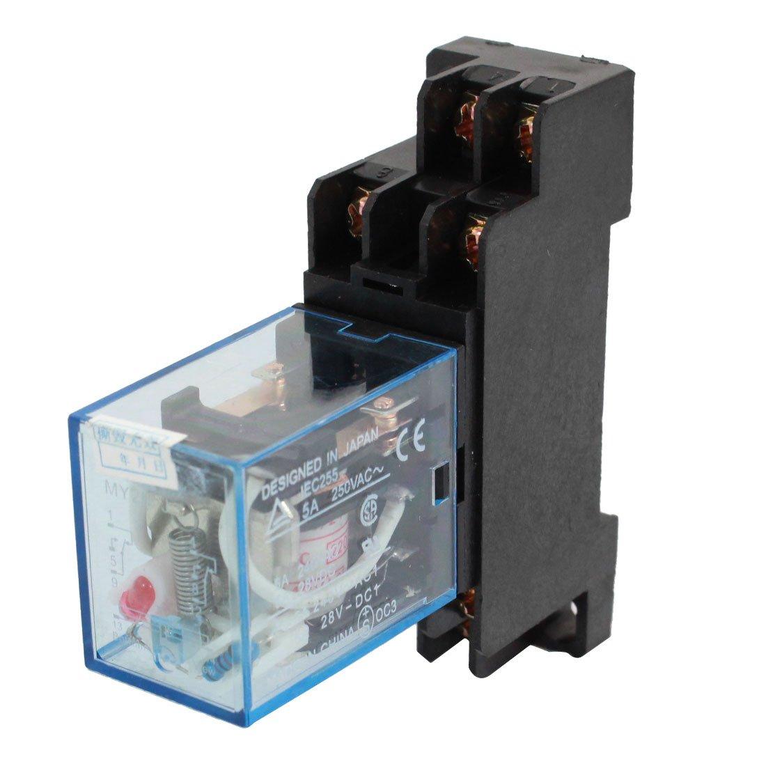 V AC Coil DPDT Power Relay MYNJ  Pin W Socket Base - Dpdt relay buy